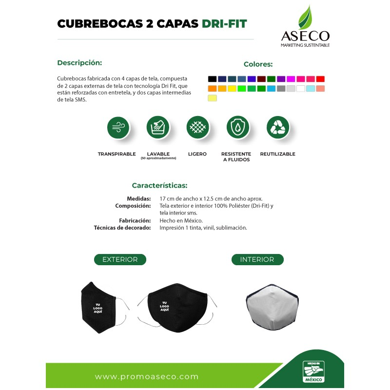 cubrebocas drifit reusable de tela 4 capas